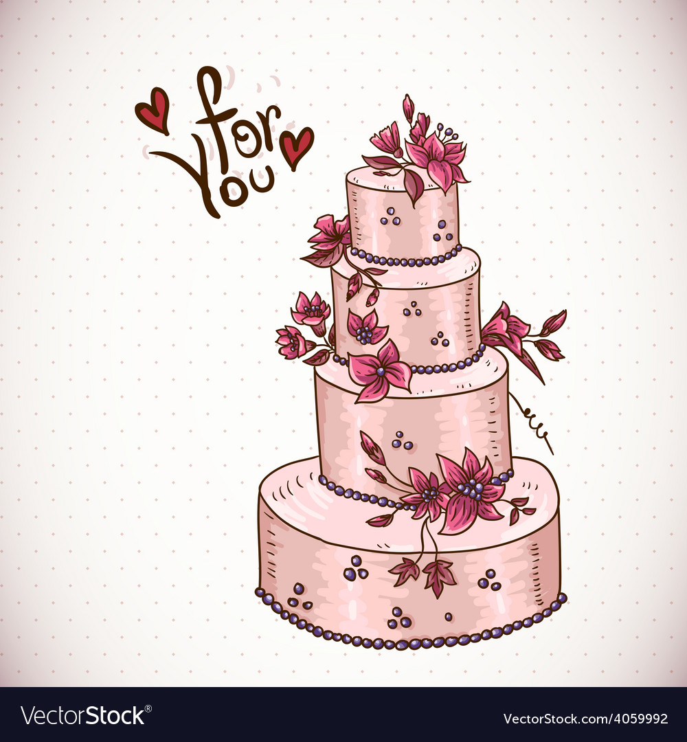 Vintage floral card with wedding cake vector