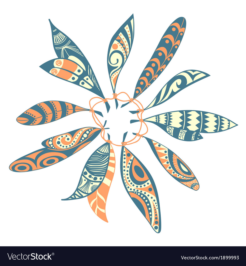 Dream catcher leaf design vector