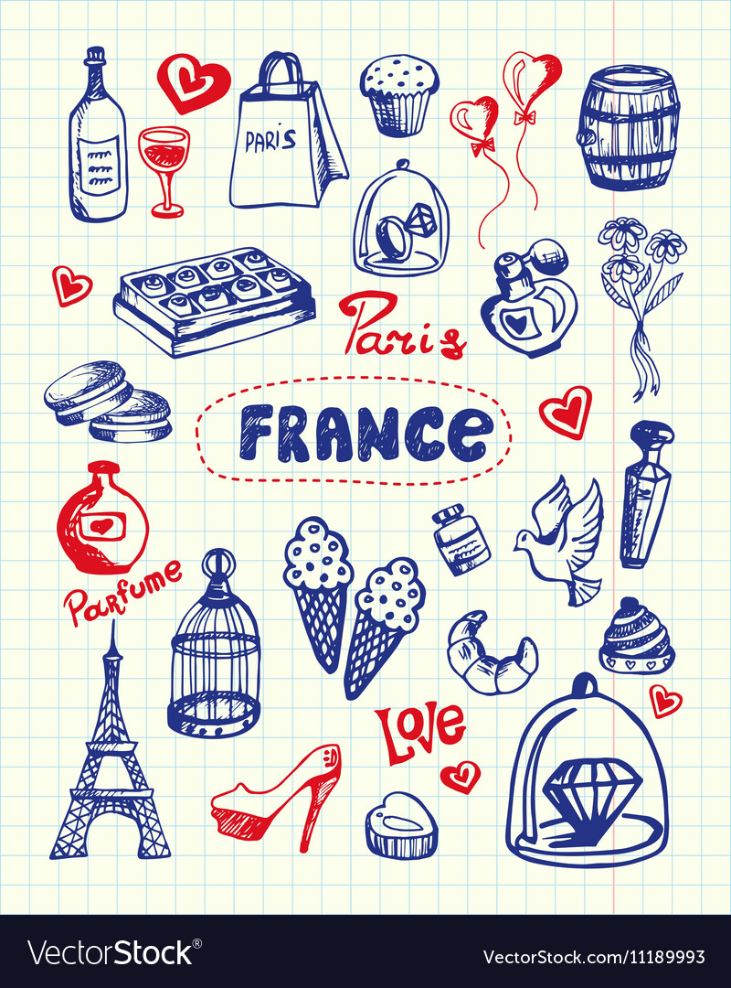 France symbols pen drawn doodles collection vector