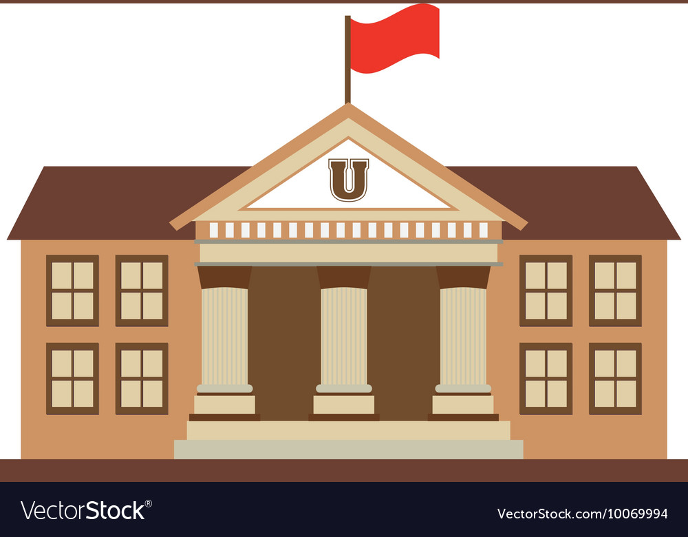 Building school flag icon vector