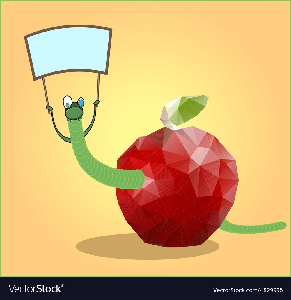 Mosaic apple with a worm vector