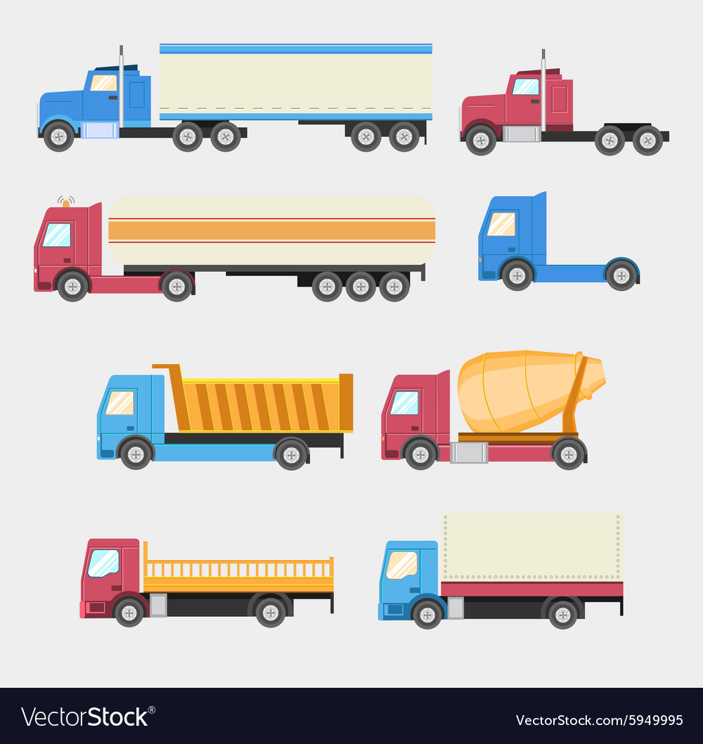 Trucks set flat style icons vector