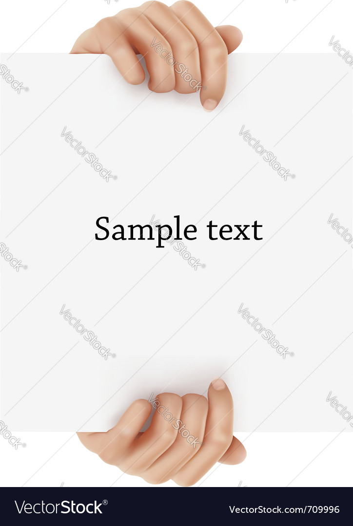 Two hands holding sign vector