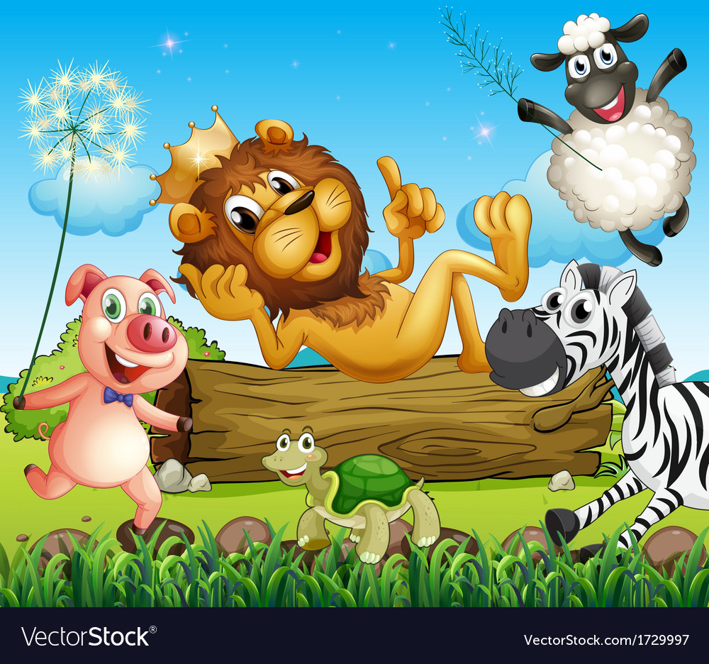 A king lion surrounded with animals vector