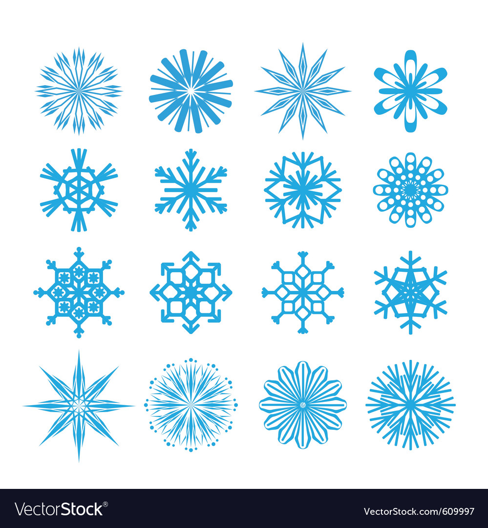 Blue snowflakes set vector