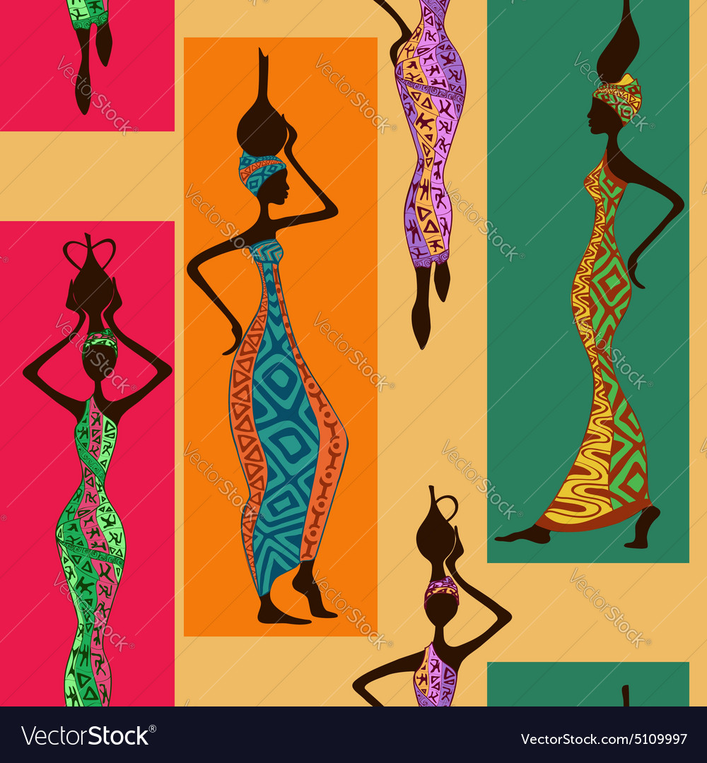 Seamless pattern of african women vector