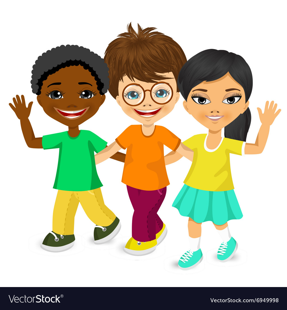 Happy multiracial children walking together vector