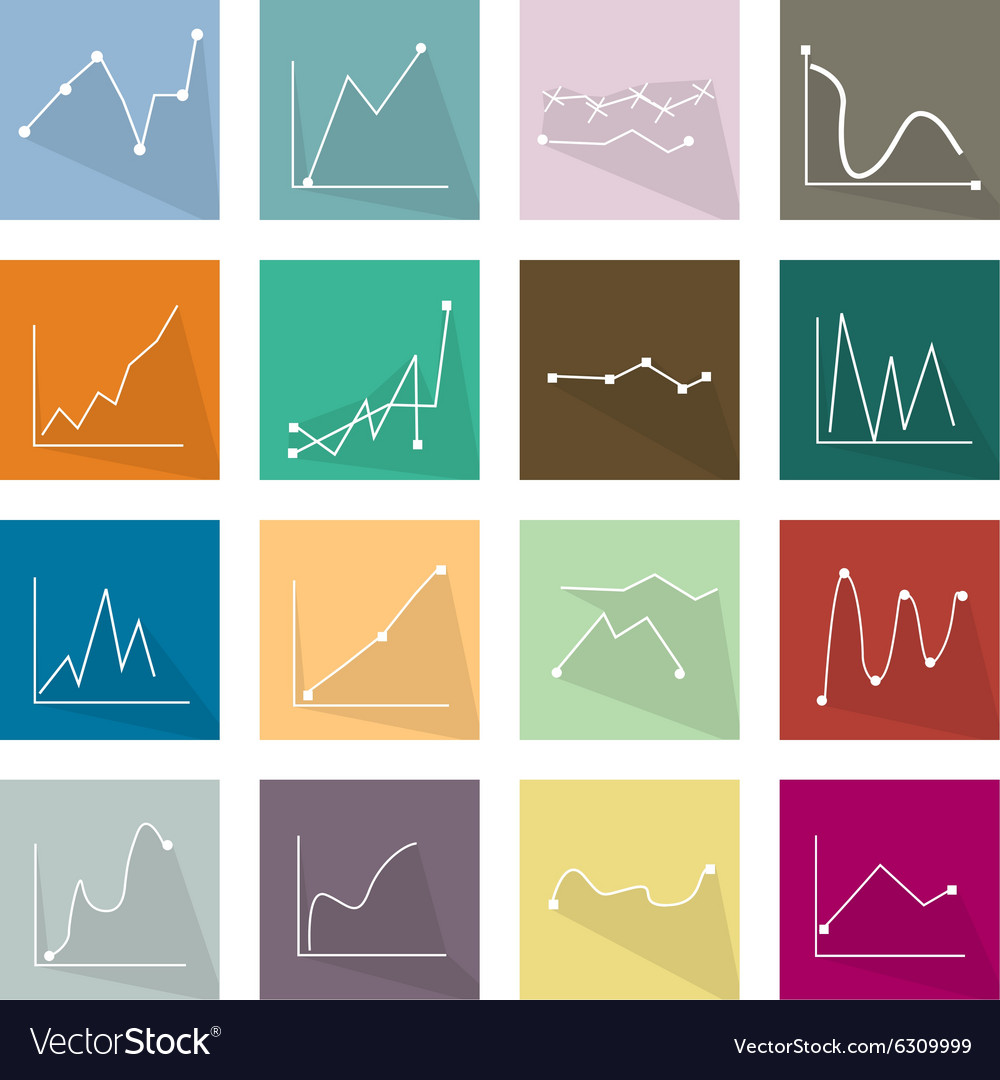 Collection of 16 line chart icons banner vector