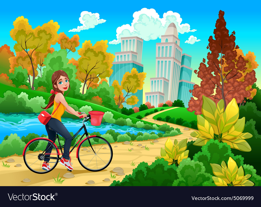 Lady on a bike in a urban park vector