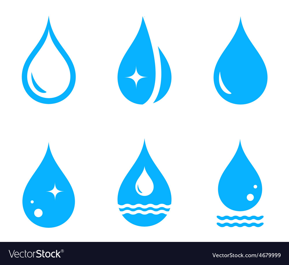 Set droplet icons vector