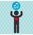 silhouette person heart medical vector image