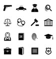 silhouette black law and justice icon set vector image