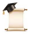 graduation cap on diploma scroll vector image