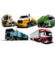 five trucks on the road vector image vector image