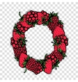 Letter O made from red berries sketch for your vector image