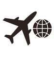 Plane and globe icons vector image vector image