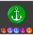 anchor flat icon sign symbol logo label set vector image