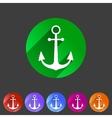 anchor flat icon sign symbol logo label set vector image