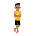 black boy in yellow t-shirt vector image