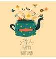 Cute teapot with autumn herbs and birds vector image