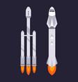 spaceship and rocket on dark background vector image