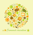 summer background with marine icons in circle vector image