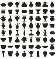 vases and pots of icons on white vector image