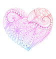 Zentangle heart painting for adult anti stress vector image