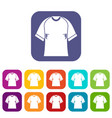 raglan tshirt icons set flat vector image