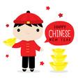 happy chinese new year boy cute cartoon vector image