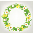 wreath from chamomile and butterflies vector image vector image