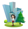 A woman outside the big buildings vector image