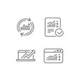 analysis line icons chart report and browser vector image