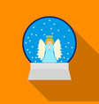 christmas snow globe with an angel icon in flat vector image