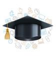graduation cap and education symbols vector image