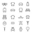 transport signs black thin line icon set vector image