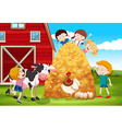 Children playing with farm animals in farm vector image