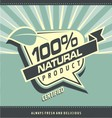 Retro label for organic food vector image