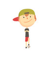 cool smiling cartoon boy playing with a ball kids vector image