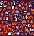 Halloween pattern background with witches vector image