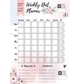 Weekly diet planner printable page for vector image