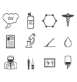 Black icons for anesthesiology vector image