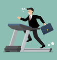 Businessman running on a treadmill vector image