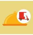 delivering motorcycle food platter vector image