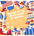 Flat design USA travel flyer with icons famous vector image