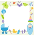 green frame with baby boy elements vector image
