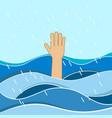 hand of drowning man needing help vector image