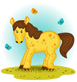 horse in the meadow vector image