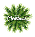 Merry Christmas lettering card with pine branch vector image