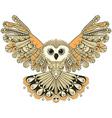 Zentangle stylized Brown flying Owl Hand Drawn vector image